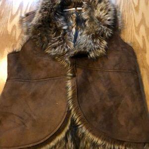 CHICO'S faux suede/faux fur vest